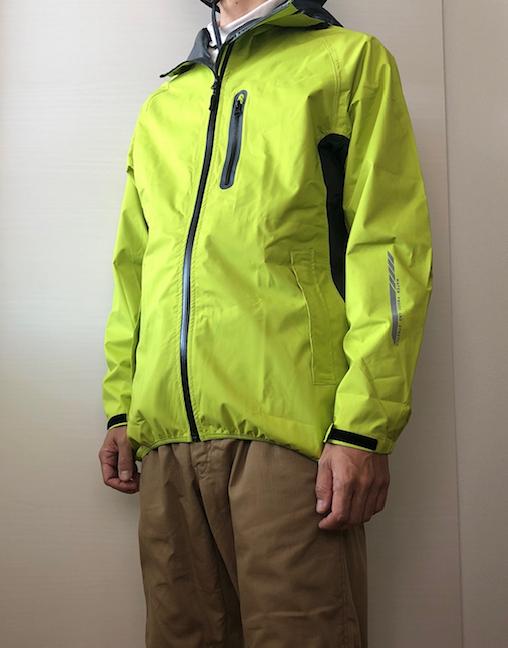 ワークマン レインスーツSTRETCH R-006 着た ライムイエロー