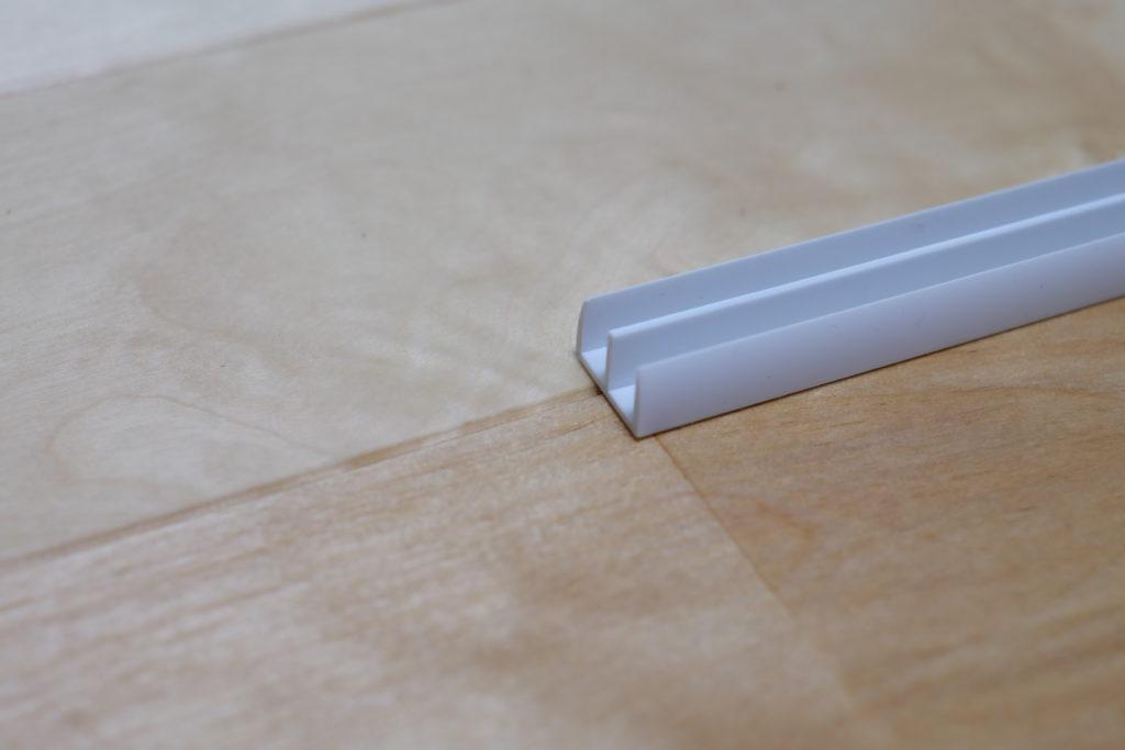 ホワイトガラス戸レール5上 2000mm【光モール】